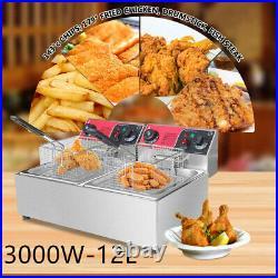 10L 3000W Electric Deep Fryer Dual Tank Stainless Steel 2 Fry Basket Restauran t