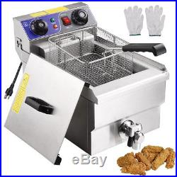 10L Electric Countertop Deep Fryer Dual Tank Commercial 1500W Stainless Steel