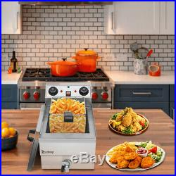 11.8L Large Electric Oil Deep Fryer With Basket, Stainless Steel, restaurant Tool
