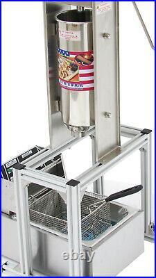 110V 5L Churro Making Machine Churro Stick Machine with 6L Electric Deep Fryer