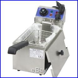 110V Stainless Steel Single Tank Electric Deep Fryer 6L 2000W Cooking Equipment