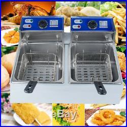 11L 2Tanks Electric Deep Fryer Commercial Tabletop Fryer+Basket Scoop CA STOCK