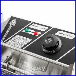 11L Dual Tanks Electric Deep Fryer Commercial Tabletop Fryer +Basket Scoop 3200W