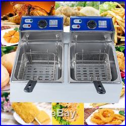 11L Dual Tanks Electric Deep Fryer Commercial Tabletop Fryer+Basket Scoop CA