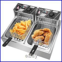12.7 Quart 5000W Stainless Steel Commercial Deep Fryer Big Electric Fryer 2 Tank