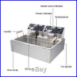12 Liter 5000W Electric Countertop Deep Fryer Single Tank Commercial Restaurant