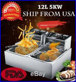 12L 5000W Electric Deep Fryer Commercial Tabletop Restaurant Frying Basket Scoop