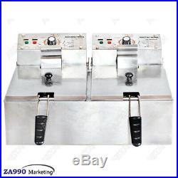 12L Commercial Deep Fryer Electric Double Basket Stainless Steel NEW
