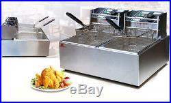12L Commercial Deep Fryer with Timer and Drain Fast Food French Frys Electric
