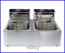12L Commercial Dual Tank Electric Deep Fryer Fast Food Frying Machine 220V