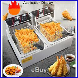 12L Commercial Electric Deep Fryer Frying Chicken Machine Dual Tank 220V 60-200