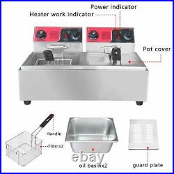 12L Double Tank Electric Deep Fryer Timer Commercial Restaurant Stainless Steel