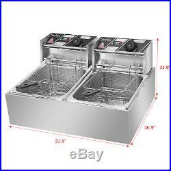 12L Dual Tank Electric Deep Fryer Commercial Restaurant Temperature Control 5KW