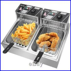 12L Electric Deep Fryer Commercial Dual Tank Stainless Steel Non-Stick Pan 5000W