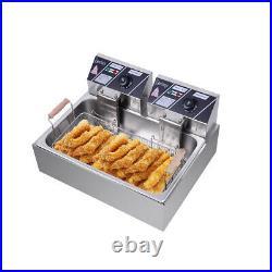 12L Electric Deep Fryer Dual Tank Stainless Steel 1 Pan Basket Commercial 5000W