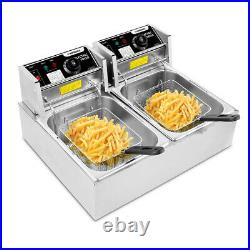 12L Electric Deep Fryer Dual Tank Stainless Steel 2 Fry Basket Commercial 3600W