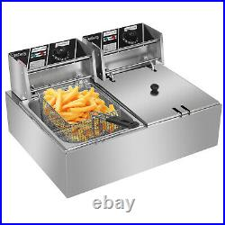 12L Electric Deep Fryer Dual Tank Stainless Steel 2 Fry Basket Commercial 5000W