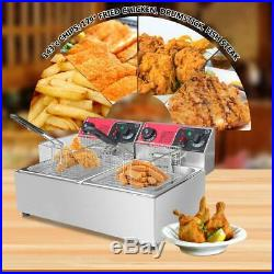 12L Timer Electric Deep Fryer Dual Tank Stainless Steel Basket Commercial 3000W