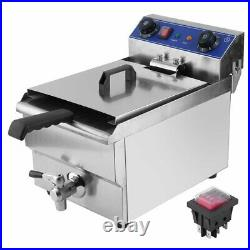 13L 1650W Timer Electric Deep Fryer Commercial Restaurant Countertop Fry Basket