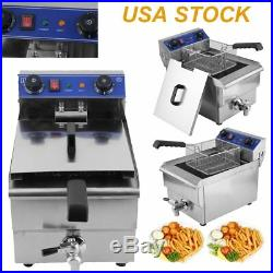 13L Commercial Restaurant Electric Deep Fryer Stainless Steel with Timer Drain EK