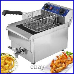 13L Commercial Restaurant Electric Deep Fryer withTimer and Drain Stainless Steel