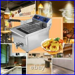 13L Electric Deep Fryer Commercial Restaurant With Frying Basket Lid 1.65KW USA