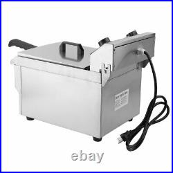 13L Electric Deep Fryer Drain Timer Stainless Steel Home Commercial 1650W New US