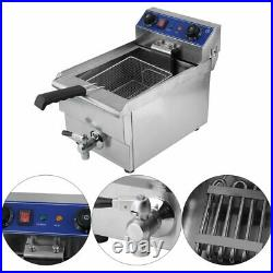 13L Electric Deep Fryer Drain Timer Stainless Steel Home Commercial 1650W VG