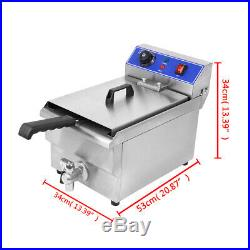 1500W Electric Deep Fryer Countertop Home Commercial Restaurant 11.7L