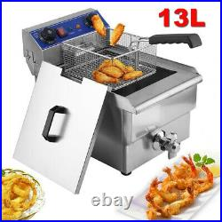 1650W 13L Commercial Electric Deep Fryer Restaurant Stainless Steel WithTimer US