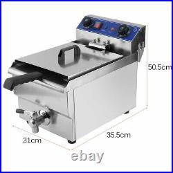 1650W Electric Deep Fryer 13L Liter Commercial Tabletop Restaurant Fry WithDrain