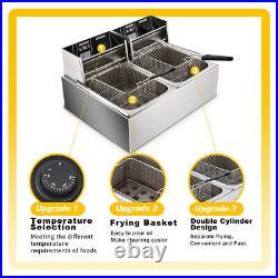16L 3600W Electric Deep Fryer Double Tank Commercial Countertop 2 Fry Baskets