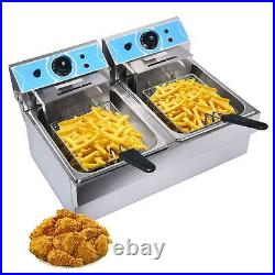 16L 4000W Electric Deep Fryer Dual Tank Commercial Restaurant Stainless Steel US