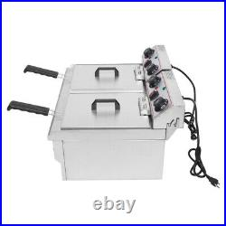 16L Commercial Electric Deep Fryer Fat Chip Twin Dual Tank Stainless Steel 3400W