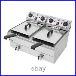 16L Commercial Electric Deep Fryer Machine Fat Chip Dual Tank Stainless Steel US