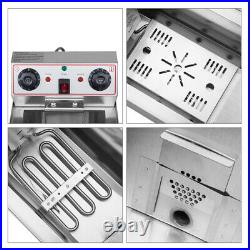 16L Electric Deep Fryer Commercial Dual Tank Stainless Steel Non-Stick Pan 3400W