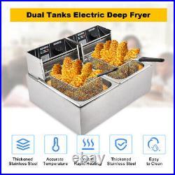 16L Electric Deep Fryer Dual Tank Commercial Countertop 2 Fry Basket 3600W