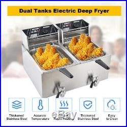 16L Electric Deep Fryer Dual Tank Commercial Countertop Fry Basket Restaurant