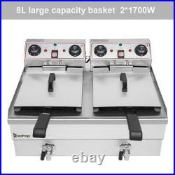 16L Electric Deep Fryer Dual Tank Commercial Fast food Restaurant With Faucet