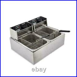 16L Electric Deep Fryer Dual Tank Stainless Steel 2 Fry Basket Commercial 3600W