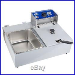 16L Electric Dual Tanks Deep Fryer Commercial Tabletop Fryer Restaurant USPS US