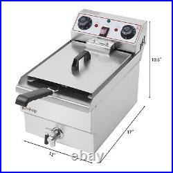 1700W 8L Electric Deep Fryer Commercial Countertop Basket French Fry Restaurant