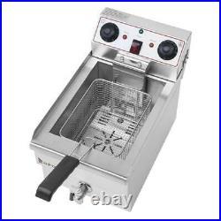 1700W Electric Single Tank Deep Fryer Stainless Steel Basket Commercial Use