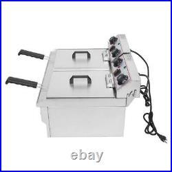 2 Tank 25QT Electric Countertop Deep Fryer Fry Commercial Basket Restaurant