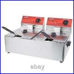 20 lb. Dual Tank Electric Commercial Countertop Deep Fryer Light Duty 120V 3500W