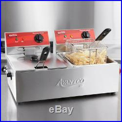 20 lb. Dual Tank Electric Countertop Deep Fryer 120V, 3500W