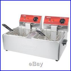 20 lb Dual Tank Electric Countertop Fryer 120V 3500W 21.5 Wide Deep Fryer