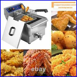2021! 13L Electric Deep Fryer Drain Timer Stainless Steel Home Commercial VG