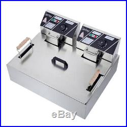 20L 5000W Electric Countertop Deep Fryer Single Large Tank Basket Commercial