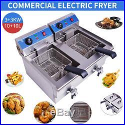20L Commercial Deep Fryer Electric Deep Fat Fryer Double Tank Basket Kitchen
